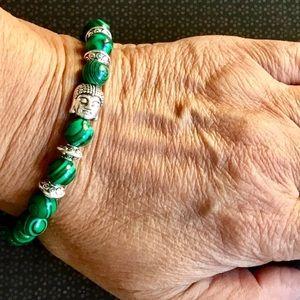 Malachite Gemstone Beads Buddha Stretch Bracelet